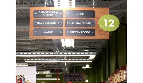 hanging grocery isle sign